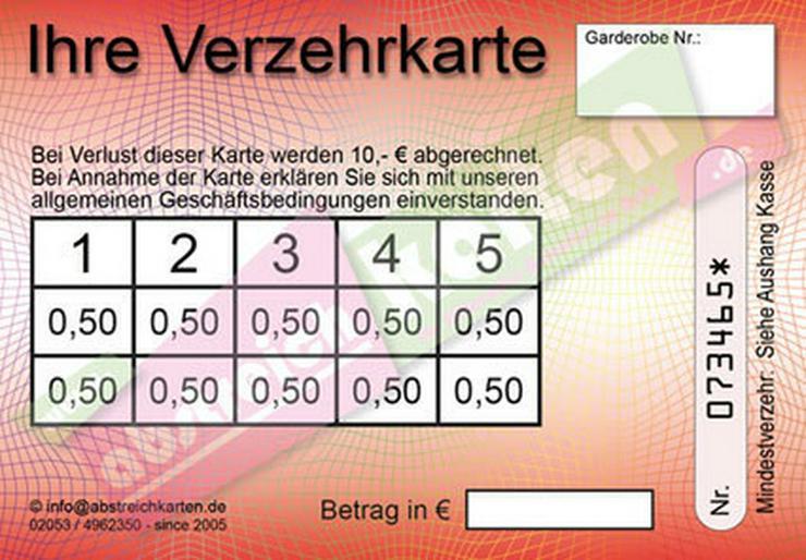 Bild 8: Abstreichkarten / Verzehrkarten für Veranstaltungen