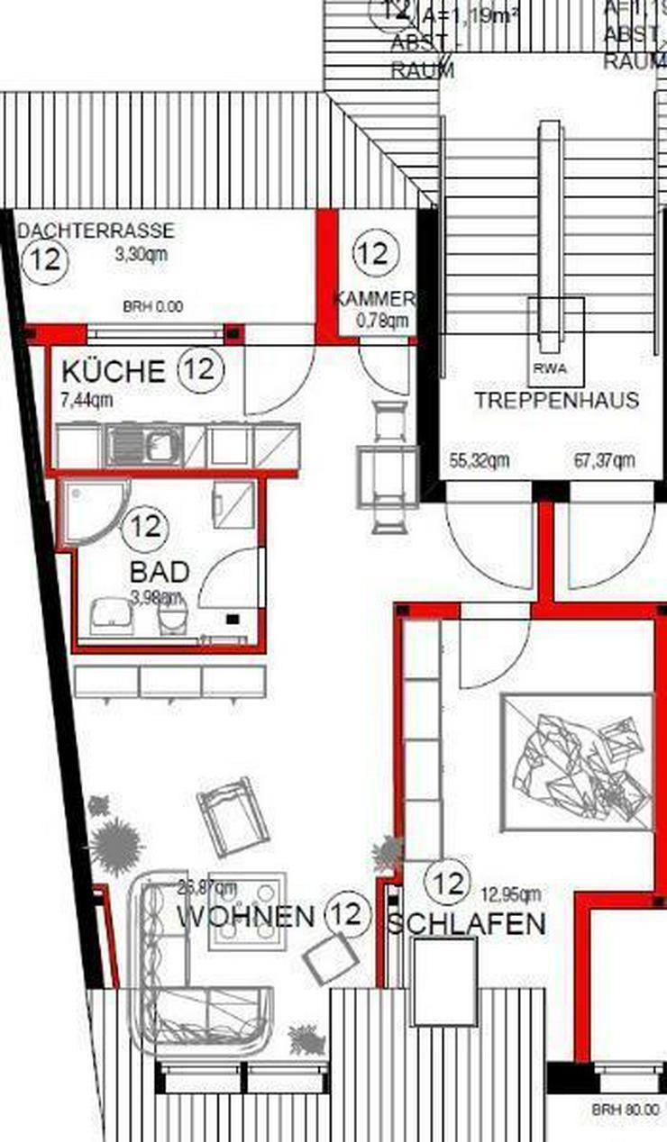 Bild 2: Tolle 2-Zi.-Dachgeschosswohnung mit Süd-Terrasse