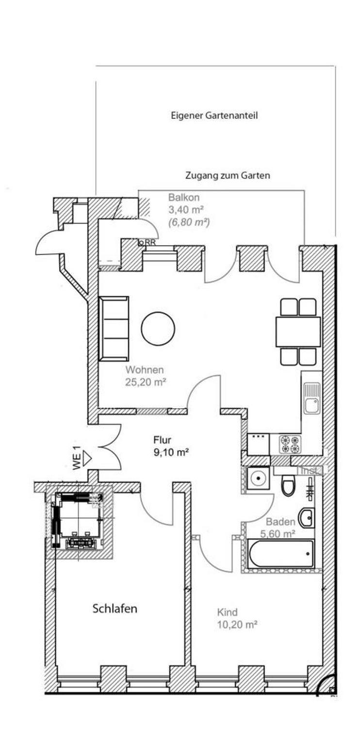 Bild 2: ERSTBEZUG nach hochwertiger Sanierung * 3 Zimmer * eigener Garten * Parkett/FB-Hzng. * u. ...