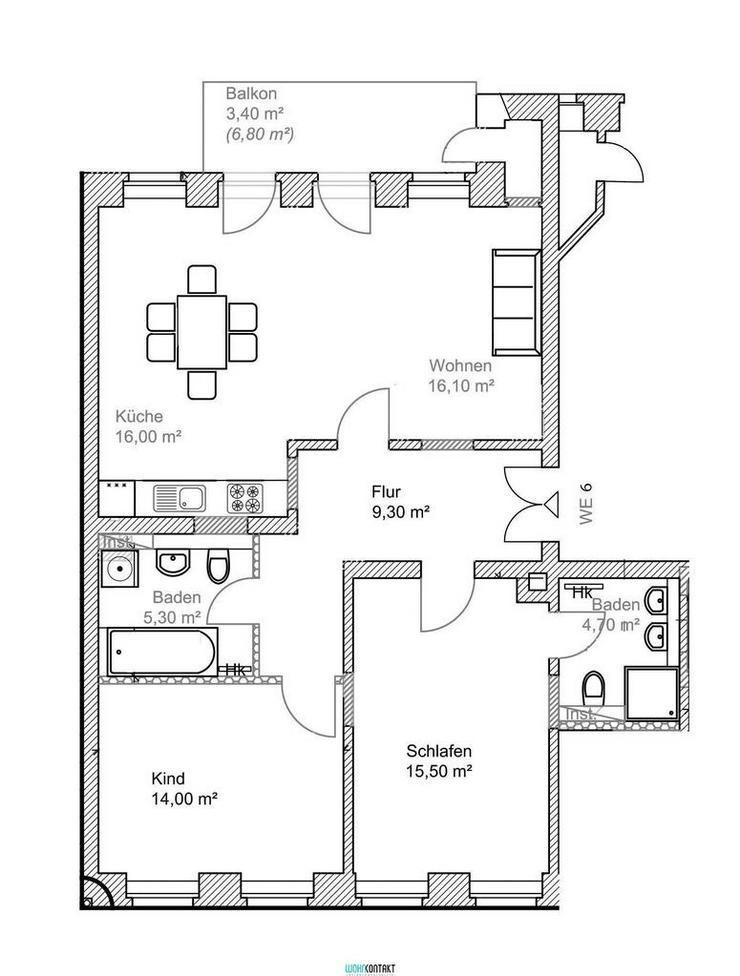 ERSTBEZUG nach hochwertiger Sanierung * 3 Zimmer * Balkon * zweites Bad * Parkett/FB-Hzng....