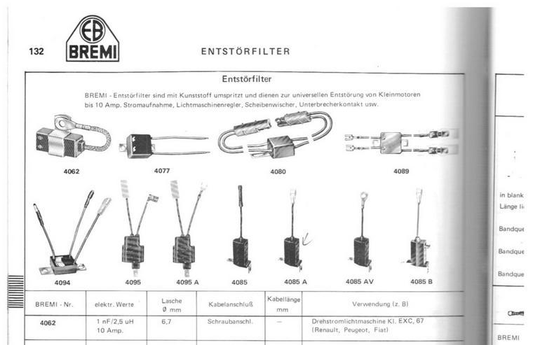 Bild 5: RENAULT PEUGEOT Kondensator Entstörfilter 4062