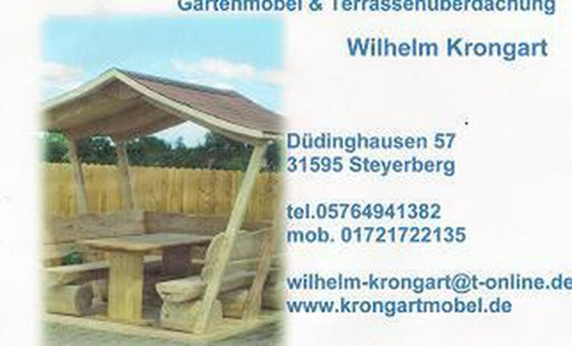 Bild 3: Gartenbank.Rustikale Holzbank.Bank mit Gravur