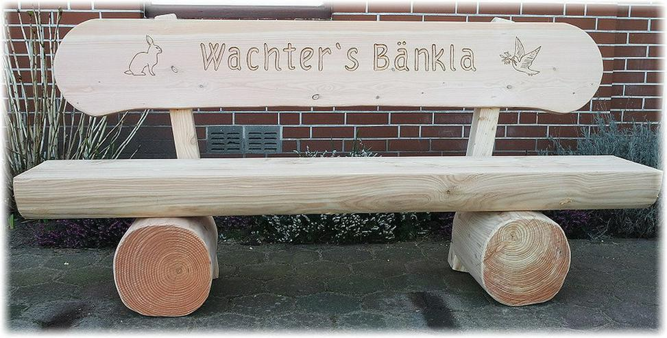 Bild 2: Rustikale Sitzbank mit Gravur.Gartenbank.Bank.