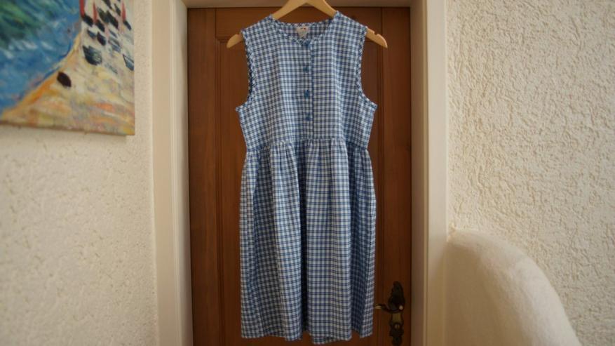 Bild 2: Kleid, Gr. 152, weiß-blau, Karo, Bienchen, neu