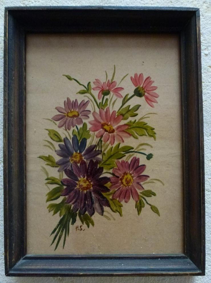 Hinterglasmalerei bunter Blumenstrauß