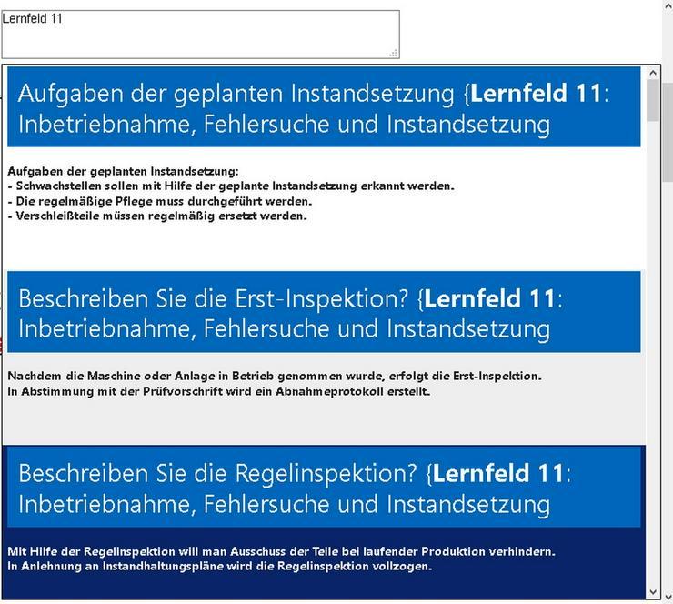 Bild 4: Beispielsweise Mechatronik-Lernfeld 4 ueben:
