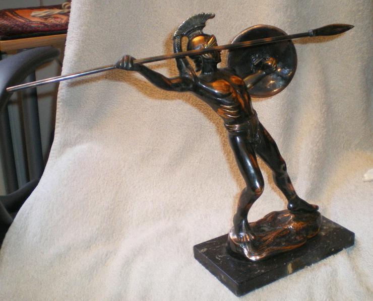 Bild 3: Skulptur - Figur Leonidas von Sparta Kupfer VB