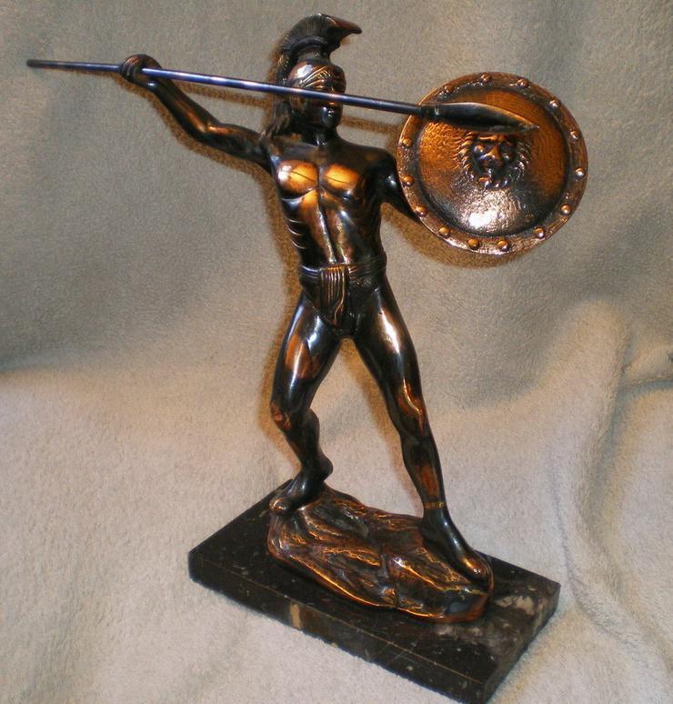 Bild 2: Skulptur - Figur Leonidas von Sparta Kupfer VB