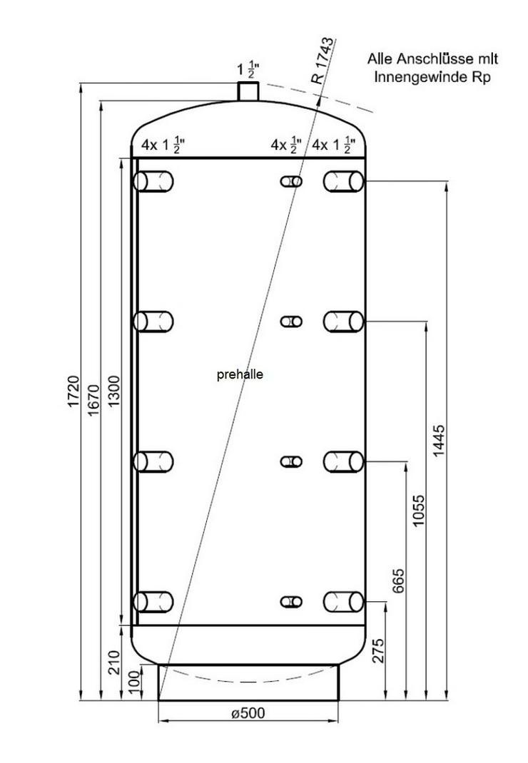 1A Pufferspeicher 500 L mit 90° Anschlüsse - Durchlauferhitzer & Wasserspeicher - Bild 1