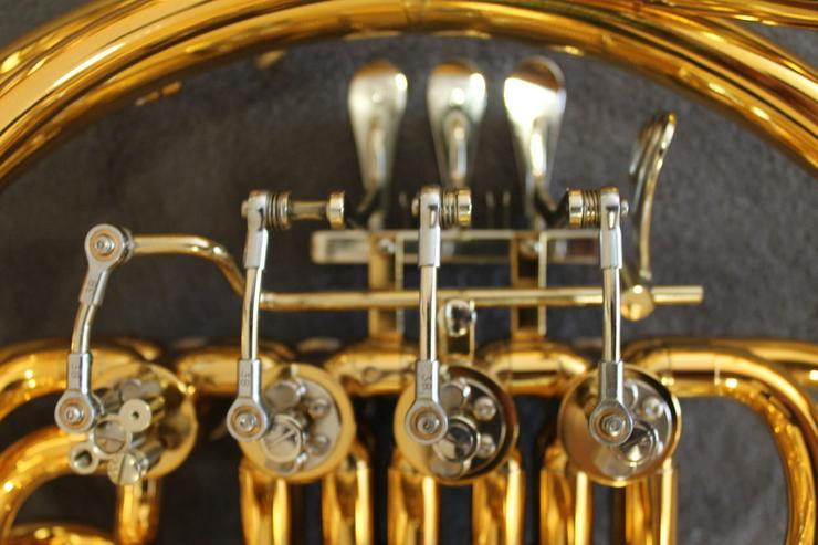 Bild 6: Hoyer 801 Doppelhorn mit Wasserklappe. Goldlack
