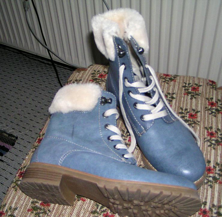 Damen Fell Stiefel Boots, neu , blau