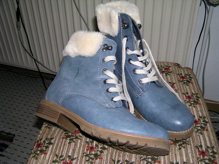 Bild 2: Damen Fell Stiefel Boots, neu , blau