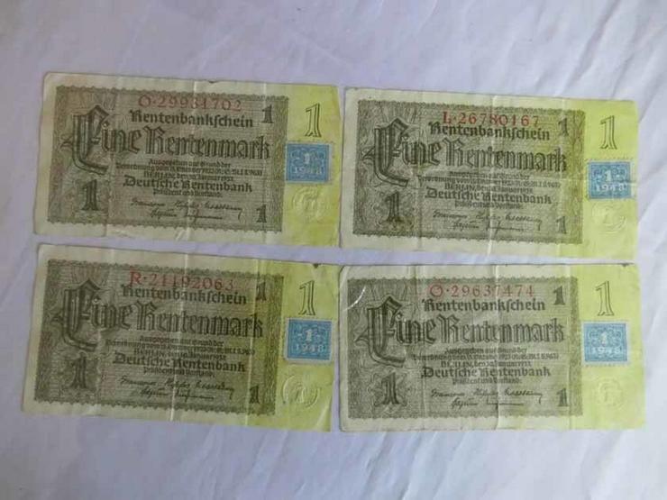 4 x Eine Rentenmark 1937 mit Kupon 1948 / DDR,