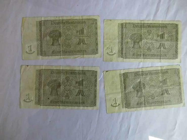 Bild 2: 4 x Eine Rentenmark 1937 mit Kupon 1948 / DDR,