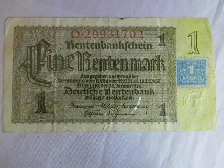 Bild 3: 4 x Eine Rentenmark 1937 mit Kupon 1948 / DDR,