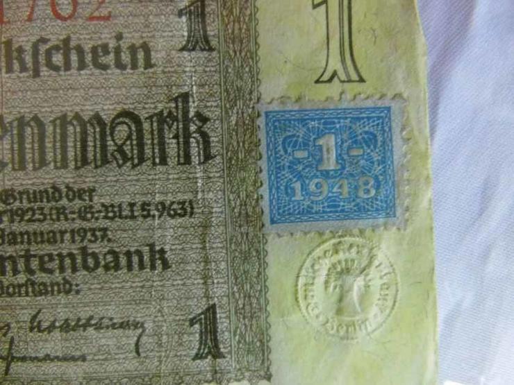 Bild 4: 4 x Eine Rentenmark 1937 mit Kupon 1948 / DDR,