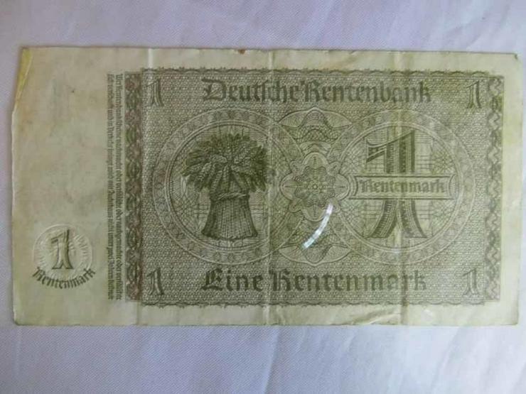 Bild 5: 4 x Eine Rentenmark 1937 mit Kupon 1948 / DDR,