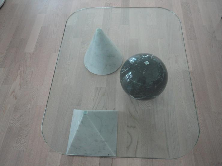Moderner rechteckiger Glas/Marmor Couchtisch (Unikat)