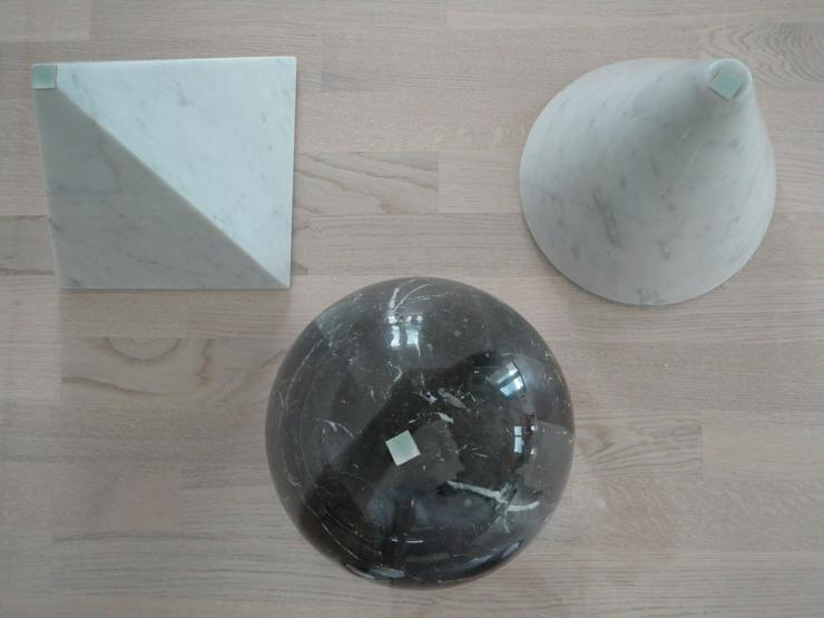 Bild 2: Moderner rechteckiger Glas/Marmor Couchtisch (Unikat)