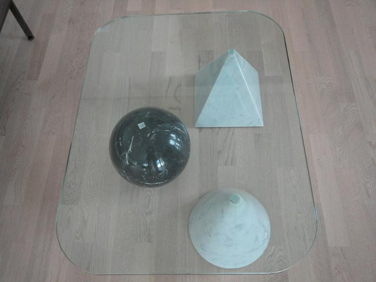 Bild 3: Moderner rechteckiger Glas/Marmor Couchtisch (Unikat)