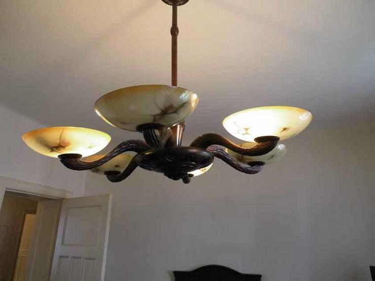 Antike art deco lampe aus holz geschnitzte d in zeuthen auf