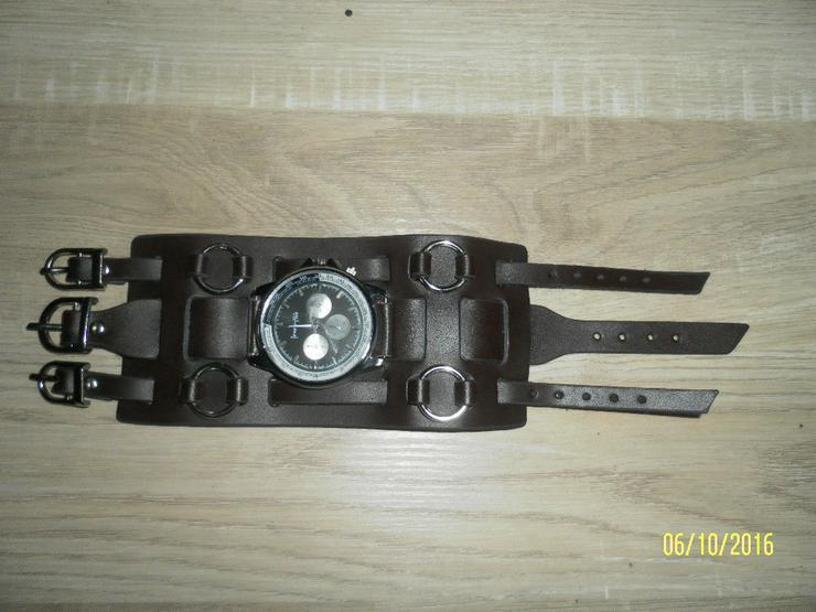 Herren Uhr mit Biker Leder Armband - Herren Armbanduhren - Bild 1