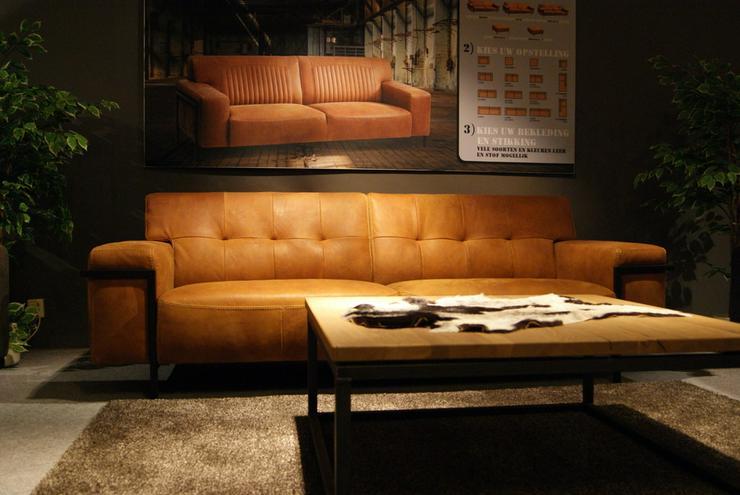 Designer Leder Sofa Metalux Büffelleder Cognac
