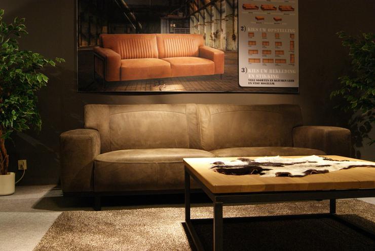 Designer Leder Sofa Sofex Cowboy Leder Taupe