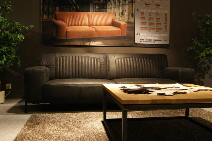 Designer Leder Sofa Factory Büffelleder Schwarz