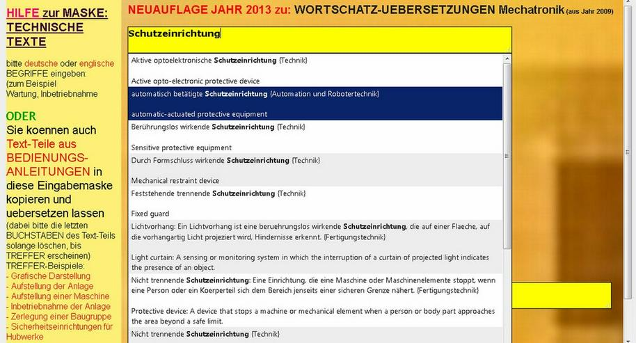 Bild 4: Translation of Technical Texts: german-english