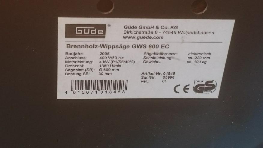 Bild 4: Güde Brennholz-Wippsäge GWS 600 EC