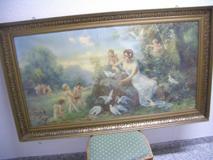 Antik Heiligenbild SCHUTZENGEL auf Öl mit sign. - Gemälde & Zeichnungen - Bild 1