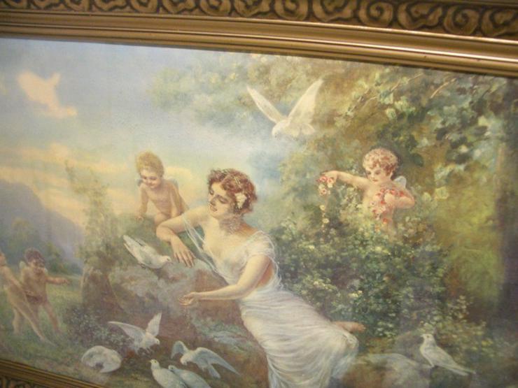 Bild 2: Antik Heiligenbild SCHUTZENGEL auf Öl mit sign.