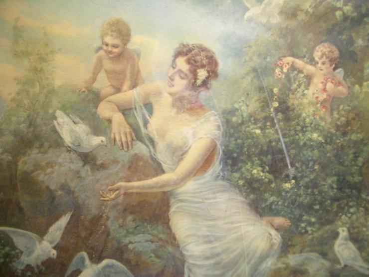 Bild 6: Antik Heiligenbild SCHUTZENGEL auf Öl mit sign.