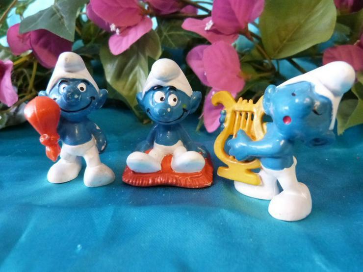 3 Schlümpfe Bully, Peyo / Schlumpf mit Harfe,
