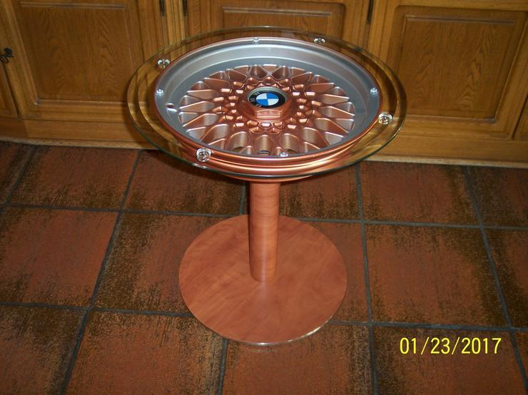 Schachtisch Glastisch Beistelltisch BMW Felge