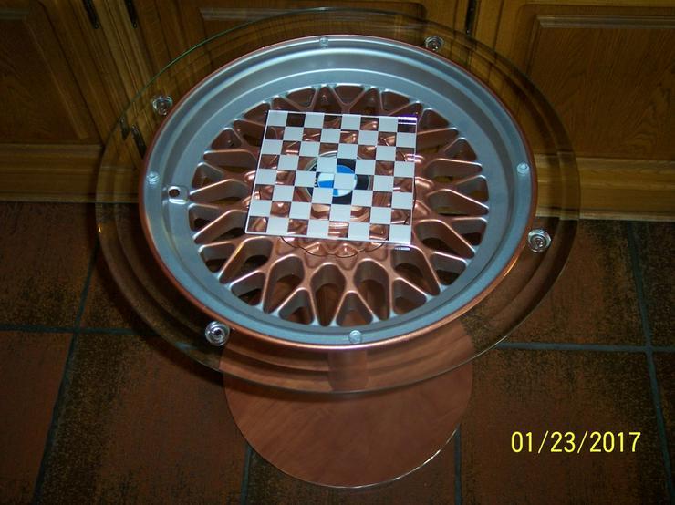 Bild 3: Schachtisch Glastisch Beistelltisch BMW Felge