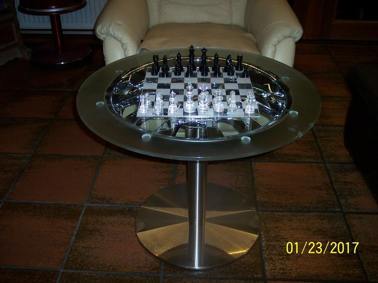 Couchtisch Beistelltisch Glastisch Schach 380E