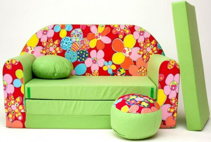 Bild 3: Kinder Sofabett mit Puff NEU Kindersofa