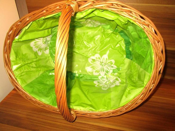 Bild 3: Weidenkorb Einkaufskorb Bügelkorb Green
