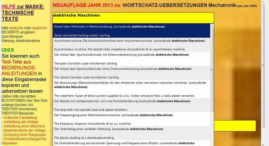 deutsch-englisch Elektrotechnik-Text-Suche