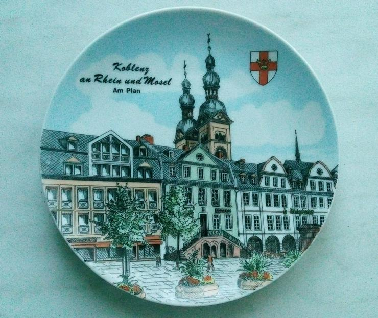 Wandteller Koblenz an Rhein und Mosel am Plan