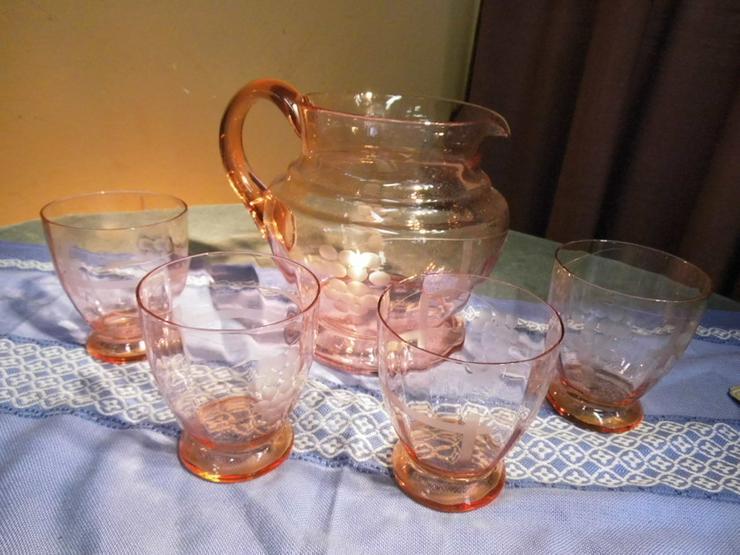 5tlg saftservice set aus ros glas 1 krug in zeuthen brandenburg auf. Black Bedroom Furniture Sets. Home Design Ideas