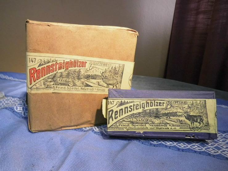 5 antike Schachteln Streichhölzer RENNSTEIGHÖL