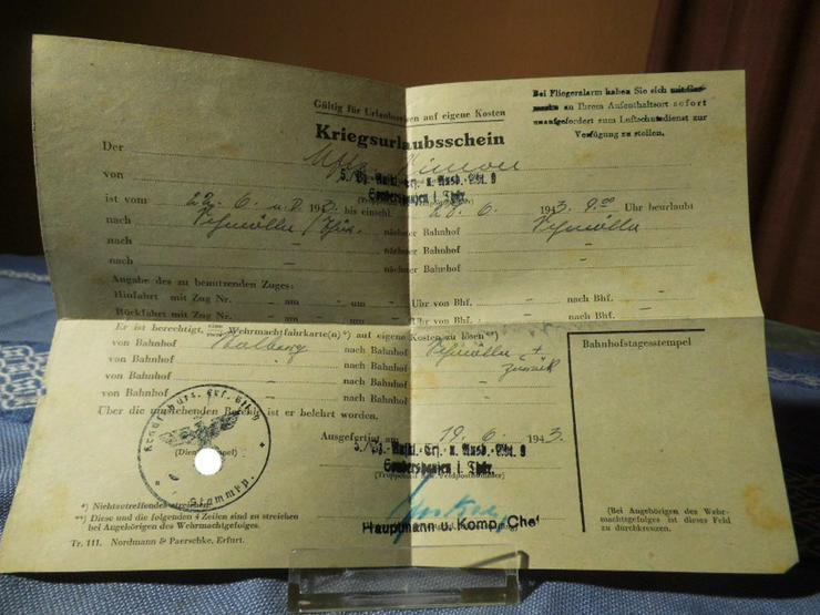 Kriegsurlaubsschein Deutsche Wehrmacht 1943 /