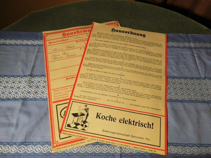 Antike Hausordnung und Mieterübersicht um 1920