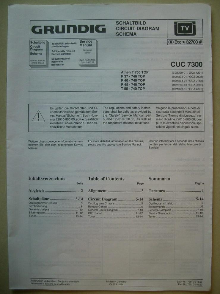 Bild 4: GRUNDIG-TV Bedienungsanleitung + Schaltplan