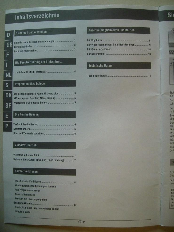 Bild 2: GRUNDIG TV P 37-740 TOP Bedienungsanleitung + Schaltplan