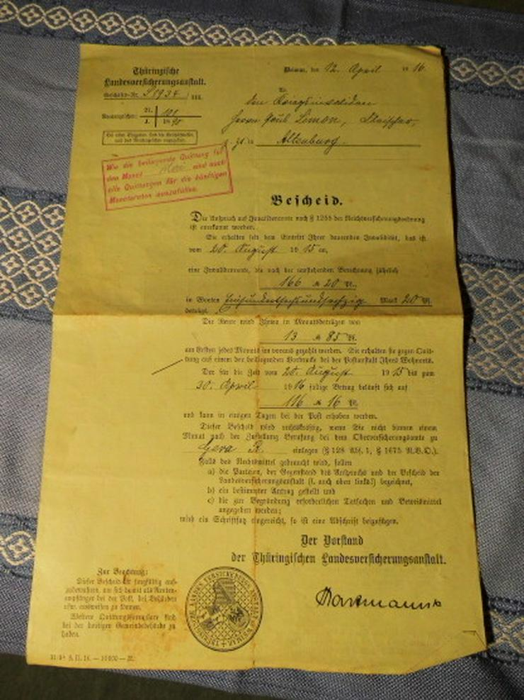 Antiker Rentenbescheid / Invalidenrente 1916 /