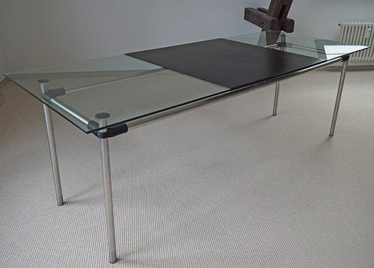 Tisch Edelstahl Tischplatte Glas